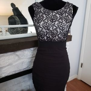 Exspress black and white lace top dress.